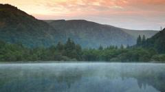 Misty lake in Ireland Stock Footage