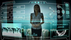 Advanced Business Communication Touch Screen International Trade Forecasting CG - stock footage