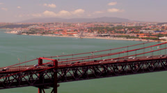Lisbon Suspended Bridge , Belem behind Stock Footage