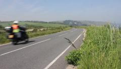 Bikes drive along seaside road Stock Footage