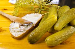 Polish garlic cucumbers - stock photo
