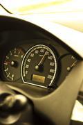 Closeup of a speed meter of a car Stock Photos