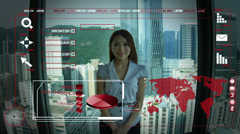 Advanced Business Networking Asian Female Worldwide Financial Forecasting CG Stock Footage