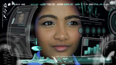 Business Communication Asian Indian Female HUD Financial Forecasting CG - stock footage