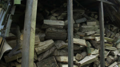 Cut Wood in the Woodstore Stock Footage