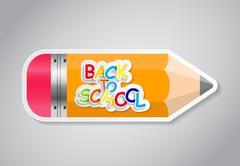 Pencil Sticker Label Vector Illustration Stock Illustration