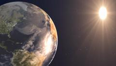 Sun Earth and Stars space background Stock Footage