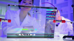Medical Science Research Asian Doctor Female Results Human blood Testing CG Stock Footage