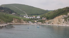Lulworth Cove harbour Dorset England UK Stock Footage