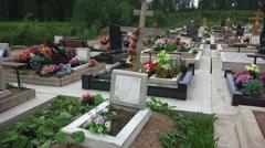 Orthodox Christian cemetery. 4K. Stock Footage