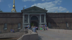Neva gate of the Peter and Paul fortress. St. Petersburg. 4K. Stock Footage