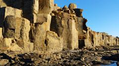Basalt column rock formation Stock Footage