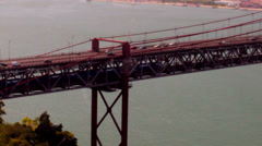 Trains Going inside the Suspended Bridge Stock Footage