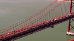 Suspended Bridge seen from Above - stock footage