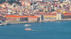 Boats Arriving Lisbon Stock Footage