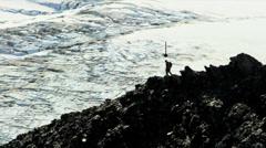 Climber Hiking Rocky Glacier Ridge American Male Descending Satnav Route Apps CG Stock Footage