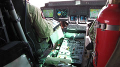 closeup of helicopter pilot and avionics (HD) - stock footage
