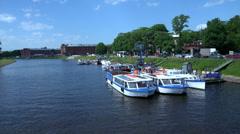 The pier, pleasure boats. St. Petersburg. 4K. Stock Footage