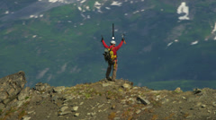 Climber Hiking Rocky Terrain American Male Summit Routes Distances Apps 3D CG Stock Footage