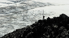 Climber Hiking Rocky Terrain American Male Descending Satnav Routes Apps CG Stock Footage