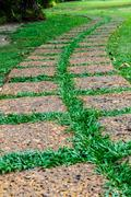 Old stone footpath on green grass Stock Photos