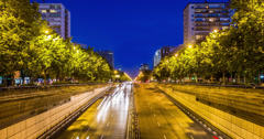 4K Time lapse of a busy road in Madrid, Spain Stock Footage