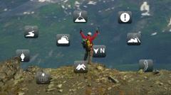 Climber Hiking Glacier Peaks American Male Summit Success App Style Weather CG Stock Footage