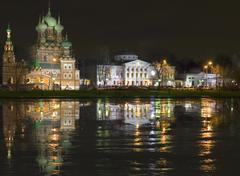 Night in country estate Ostankino - stock photo