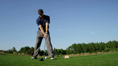 Golfer Teeing Off Slow Motion Graphics American Caucasian Male Playing Shot CG Stock Footage