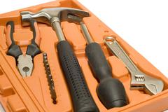 tool kit in box - stock photo