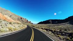 POV HUD Highway Driving Nevada America Satnav Technology Apps GPS CG Stock Footage