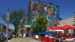 4K Pittsburgh Outdoor Restaurant Establishing Shot Stock Footage