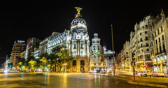 4K Time lapse of the Edificio Metropolis, Madrid, Spain Stock Footage