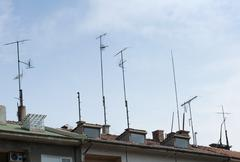 Stock Photo of Antennas mounted on the roof