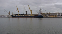Freighter in Saint Malo harbour Stock Footage