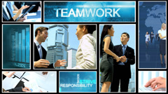 CG montage ethnic business team corporate strategy technology motion graphics - stock footage