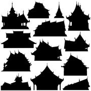 temple building silhouettes - stock illustration