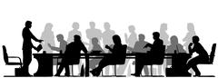 busy meeting - stock illustration