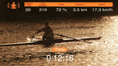 CG video montage Caucasian male cardio fitness workout rowing motion graphics Stock Footage