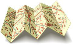 Folding street map Stock Illustration