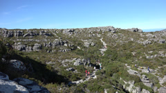 Hikers at the plateau of Table Mountain Stock Footage