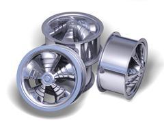 Four chromed helix rims - stock photo
