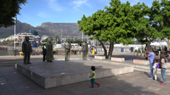 Wide shot of Nobel Square, Cape Town Stock Footage