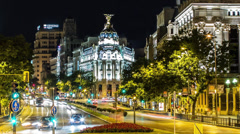 Stock Video Footage of Time lapse of the Edificio Metropolis, Madrid, Spain