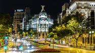 Stock Video Footage of Time lapse of the Edificio Metropolis, Madrid, Spain