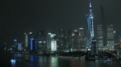 Shanghai Financial District  Pudong Huangpu River China Stock Footage