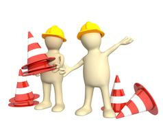 Stock Illustration of 3d puppets with emergency cones