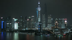 Financial District Pudong  Shanghai China Huangpu River Cruise Boats Stock Footage