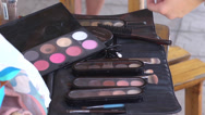 Model makeup behind the scene Stock Footage