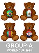 world cup group a bear - stock illustration